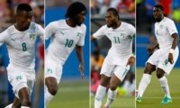 Ivory Coast's Salomon Kalou, Gervinho, Didier Drogba and Kolo Toure.