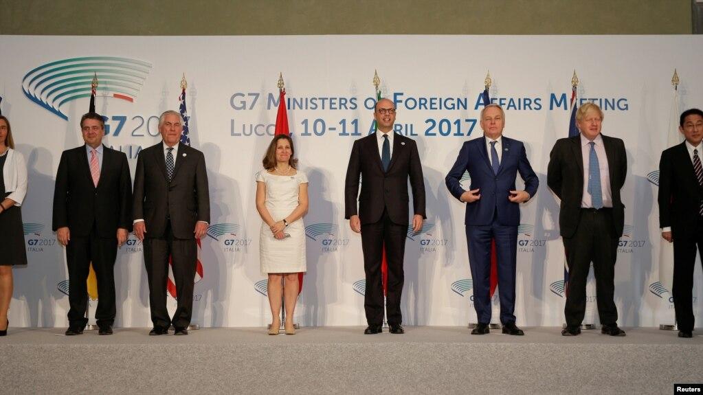 Đại diện G7 chụp hình lưu niệm tại Lucca, Italy ngày 11/4/17