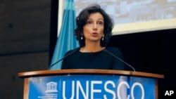 Direktris Jeneral UNESCO a, Audrey Azoulay, (Foto: AP/Michel Euler, Frans, 19 novanm 2018).