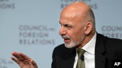 FILE - Afghan President Ashraf Ghani speaks at the Council of Foreign Relations in New York, March 26, 2015.