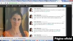 Página de twitter de Joani Sánchez, bloguera cubana.