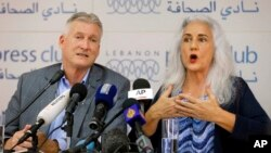 Marc and Debra Tice, the parents of Austin Tice, who went missing in Syria in 2012, speak during a press conference, at the Press Club, in Beirut, Lebanon, July 20, 2017.