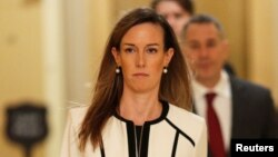 Jennifer Williams, penasihat urusan luar negeri Wapres AS tiba di gedung Kongres AS, Kamis (7/11).