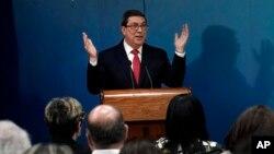 Menlu Kuba, Bruno Rodriguez Parrilla berbicara dalam konferensi pers (foto: dok).