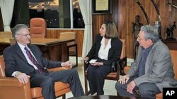 Cuba's President Raul Castro (R) talks with Michael Kinnamon, general secretary of the New York-based National Council of Churches (L) as a translator aids the dialogue about imprisoned U.S. contractor Alan Gross, in Havana, Cuba, November 30, 2011.