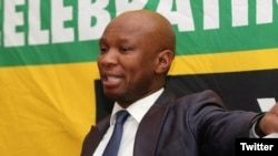 "African National Congress spokesman Zizi Kodwa is seen delivering a speech in a photo taken from his Twitter feed @zizikodwa. Kodwa accused the U.S. government of attempting to ""undermine"" the current South African government."