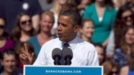President Barack Obama speaks at a campaign rally in Golden, Colorado, September 13, 2012.