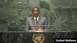 Kenyan President Uhuru Kenyatta addresses the 69th U.N. General Assembly in New York on Wednesday, Sept. 24, 2014.