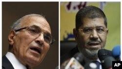 Mohammed Morsi dari kelompok Ikhwanul Muslimin (kanan) mengklaim kemenangan dalam pilpres putaran kedua melawan mantan PM Ahmed Shafiq (foto: dok).