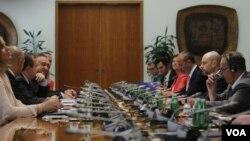 Sastanak predstavnika Eropskog parlamenta sa predsednikom Skupštine Ivicom Dačićem, u Beogradu, 9. jula 2021. (Foto: Fonet, videogreb)
