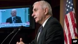 미 상원 군사위원회 민주당 간사를 맡고 있는 잭 리드 의원이 16일 워싱턴에서 최근 한국 방문 결과에 대한 기자회견을 가졌다.