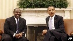 Le chef de l'Etat gabonais, Ali Bongo et le président américain Barack Obama.