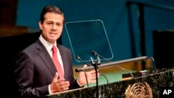 미국 뉴욕 유엔본부에서 19일 열린 2016년 유엔 마약특별총회에서 엔리케 페나 니에토 멕시코 대통령이 연설하고 있다.
