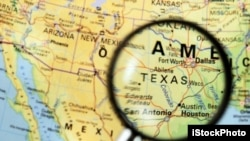 Peta wilayah Texas.