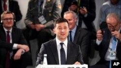 Президент Украины Владимир Зеленский выступает на Мюнхенской конференции по безопасности. 15 февраля 2020 г.