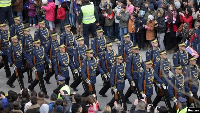 Members of the Kosovo Security Force march during a celebration marking the fifth anniversary of Kosovo's secession from Serbia in Pristina February 17, 2013.