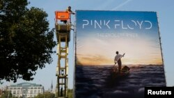 "Advertising for the new Pink Floyd album ""The Endless River"" is installed on a four-sided billboard on the South Bank in London, Sept. 22, 2014."