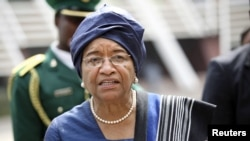 Liberia's President Ellen Johnson Sirleaf arrives for a meeting of the Economic Community of West African States (ECOWAS) in Abuja, February 16, 2012.