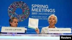 Tổng giám dốc IMF Christine Lagarde họp báo khai mạc Hội nghị mùa Xuân hàng năm của IMF và World Bank tại Washington, ngày 20/4/2017.