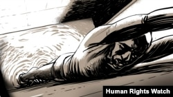 A Human Rights Watch drawing of a prisoner in Ethiopia's Jail Ogaden in the country's Somali region.
