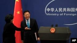 中国外交部发言人赵立坚在每日简报会上讲话。(2020年2月24日)