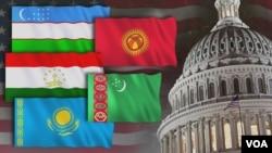 A picture illustration shows the flags of Kazakhstan, Kyrgyzstan, Tajikistan, Turkmenistan and Uzbekistan alongside an image of the U.S. Capitol dome.