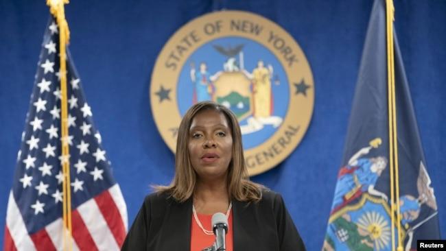 Le procureur général de l'État de New York, Letitia James, prend la parole lors d'une conférence de presse à son bureau à New York, New York, États-Unis, le 3 août 2021.