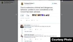 """美國俄勒岡州波特蘭警方在其推特賬戶上將波特蘭的反川普抗議示威稱為""""騷亂""""(官方推特截圖)"""