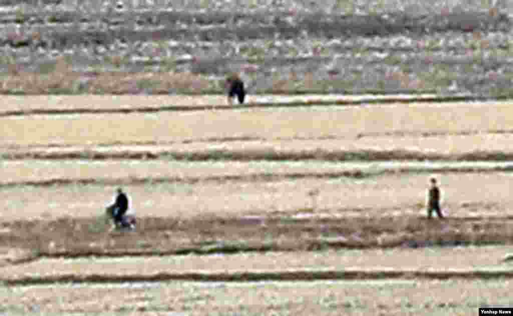 28일 한국의 강화군 평화전망대에서 바라본 북한 개풍군 일대 마을 주민들이 이동하고 있다.