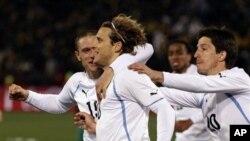 Diego Forlan et l'Uruguay heureux