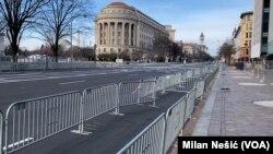 Pusat Kota Washington D.C. menjelang pelantikan Presiden terpilih Joe Biden.