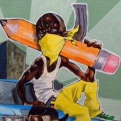 "A work from Aniekan Udofia's ""Pencil Gun Revolution"" series"