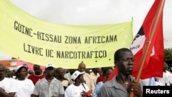 Une manifestation à Bissau, Guinée-Bissau, 3 août 2007.