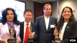 """三家人权组织获颁美国国家民主基金会2019""""民主奖""""(美国之音萧雨拍摄)"""