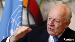 스테판 데 미스투라 유엔 시리아 특사가 1일 스위스 제네바 유엔 본부에서 '로이터 통신'과 인터뷰하고 있다.