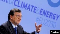Presiden Komisi Eropa Jose Manuel Barroso bicara tentang Kerangka Iklim dan Energi Uni Eropa 2030 di Brussels 22 Januari 2014.