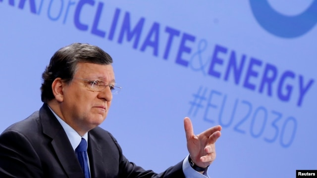 European Commission President Jose Manuel Barroso speaks about the 2030 Framework for Climate and Energy EU2030 in Brussels Jan. 22, 2014.