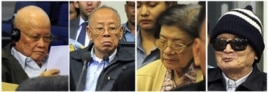 "The four most senior surviving members of Cambodia's murderous Khmer Rouge regime went on trial for war crimes on Monday, three decades after its ""year zero"" revolution marked one of the darkest chapters of the 20th century. From L-R: Former President Khi"