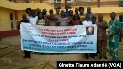 Un atelier de sensibilisation, à Cotonou, au Bénin, le 26 avril 2017. (VOA/Ginette Fleure Adandé)