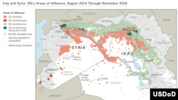 MAP: Islamic State group-held territory, 2014 - 2016