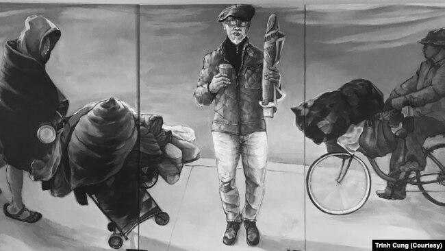 """Một bức tranh sơn dầu Hiện thực Đơn sắc của họa sĩ Trịnh Cung triển lãm tại Little Saigon, bang California mang tên """"Câu Chuyện của Một Di Dân Mới ở Cali"""""""
