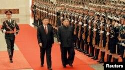 Hai lãnh đạo Trung, Triều duyệt đội danh dự của Trung Quốc, 28/3/2018