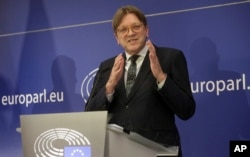 Brexit-coordinator Guy Verhofstadt speaks during a media conference at the European Parliament in Brussels, March 29, 2017.