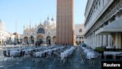 Prazan Trg Svetog Marka u Veneciji (Foto: Rojters)