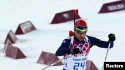 FILE - Norway's Ole Einar Bjoerndalen skis during the men's biathlon 10 km sprint event at the Sochi 2014 Winter Olympics in Rosa Khutor, Feb. 8, 2014.