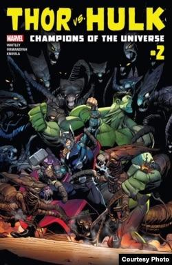Komik Thor VS Hulk produksi Marvel yang menampilkan hasil karya Alti Firmansyah (Dok: Alti Firmansyah, Marvel Comics)