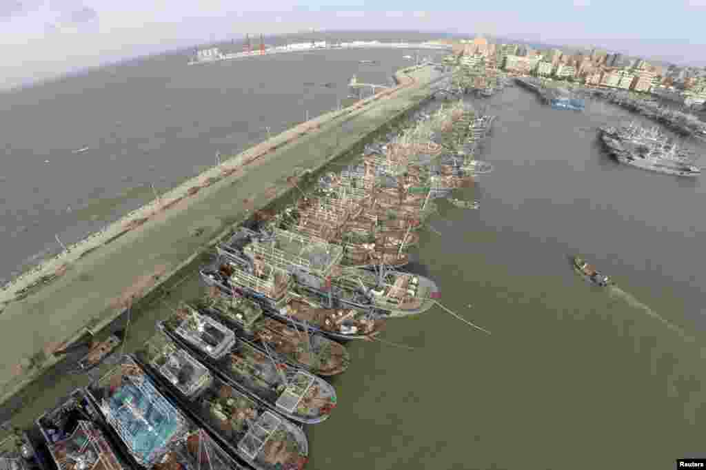 Fishing boats are seen docked at a port as Typhoon Matmo approaches, in Jinjiang, Fujian province, China, July 22, 2014.