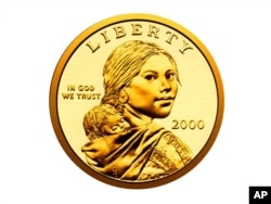 The Sacagawea dollar coin, first minted in the U.S. in 2000.