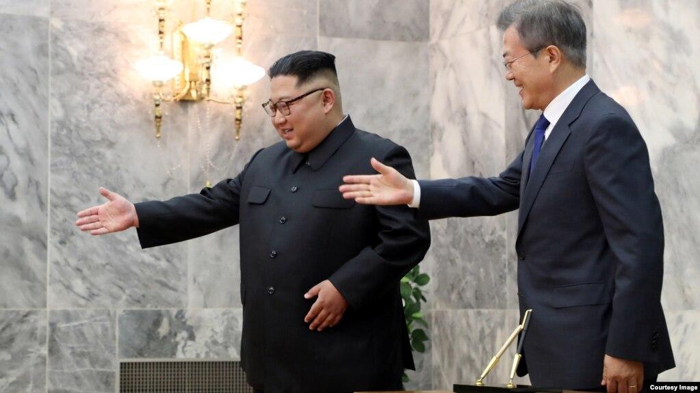 Hai lãnh đạo Triều, Hàn gặp nhau hồi tháng 5/2018