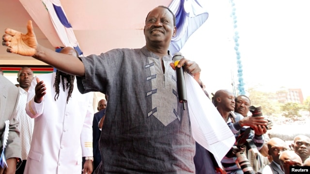 Kenya's Prime Minister and presidential candidate Raila Odinga addresses the crowd during peace prayers in Nairobi, Feb. 24, 2013.